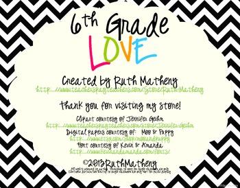 I Heart My Sixth Graders Sign Pack {Chevron}