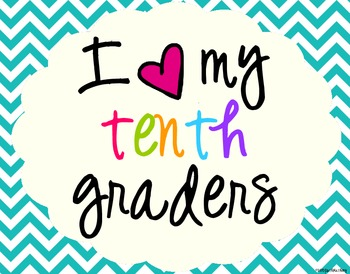I Heart My Tenth Graders Sign Pack {Chevron}