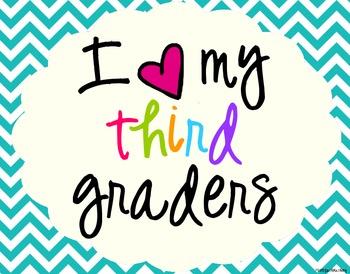 I Heart My Third Graders Sign Pack {Chevron}