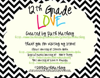 I Heart My Twelfth Graders Sign Pack {Chevron}