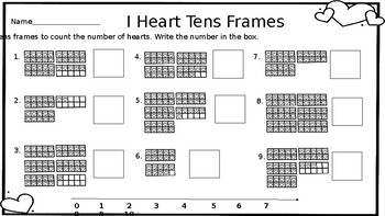 I Heart Tens Frames Valentines FREEBIE