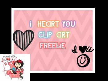 I Heart You*Clip Art FREEBIE