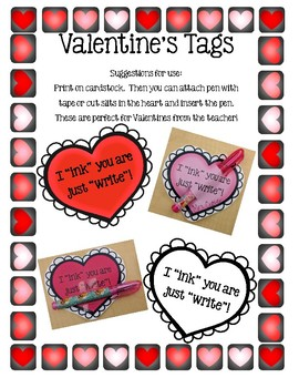 I INK you are just WRITE! Valentine Tags