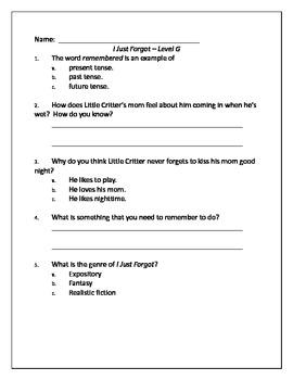 """I Just Forgot"" Guided Reading Quiz"