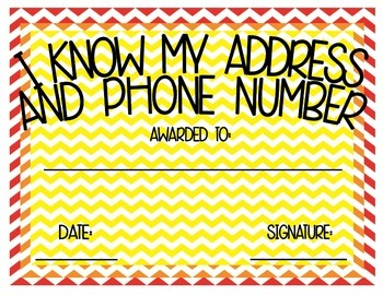 I Know My Address and Phone Number Award