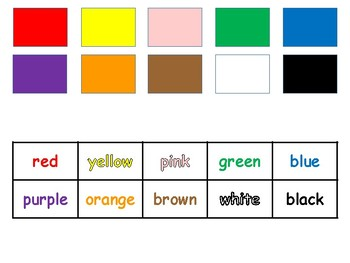 I Know My Colors (with words) Workstations, File Folder Games, Worksheet