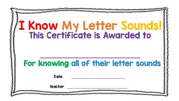 I Know My Letter Sounds Certificate of Achievement (BOLD Rainbow/Black COLOR)