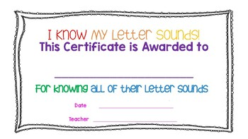 I Know My Letter Sounds Certificate of Achievement (Rainbow Bright COLOR)