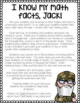 I Know My Math Facts Jack! Addition, Subtraction, Multiplication Fact Tests