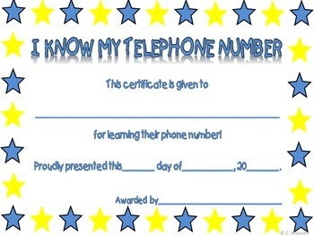 I Know My Telephone Number Activity