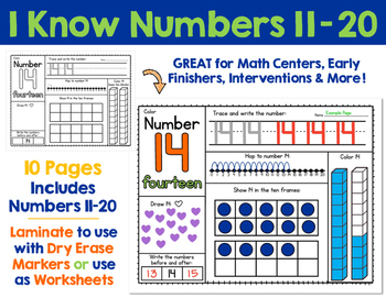 I Know Numbers 11-20:  Number Sense and Skills for Numbers 11 - 20