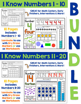 I Know Numbers BUNDLE - Numbers 1-20:  Number Sense and Skills for Numbers 1-20