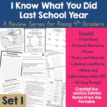 I Know What You Did Last School Year: Review for Rising 4th Graders (Set 1)