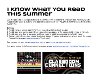 Free I Know What You Read This Summer Class Poster Prompt