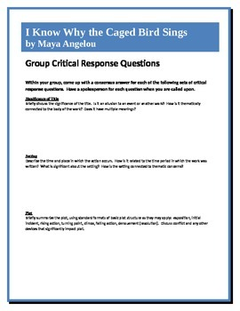 I Know Why the Caged Bird Sings - Angelou - Group Critical Response Questions