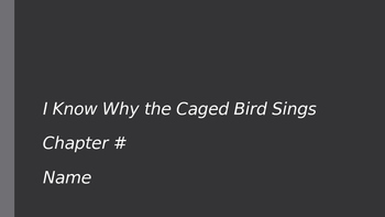 I Know Why the Caged Bird Sings: Chapter Presentations