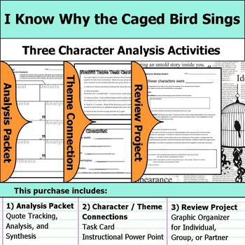 I Know Why the Caged Bird Sings - Character Analysis Packet, Theme, & Project