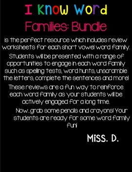I Know Word Families : REVIEW BUNDLE!