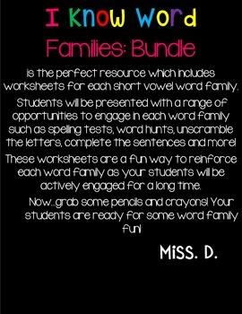 I Know Word Families : BUNDLE!