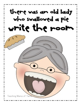 I Know an Old Lady Who Swallowed a Pie Write the Room