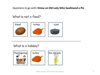 I Know an Old Lady who Swallowed Some Pie---Visuals and Comprehension