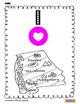 I LOVE ALABAMA - COLORING MAP