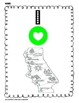 I LOVE CALIFORNIA - COLORING MAP