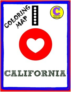 I LOVE CALIFORNIA - COLORING MAP