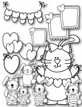 I LOVE Bunny Rabbits Clip Art ~ Valentine's Day ~ Easter ~ Doodles