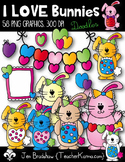 Bunny Clipart with Hearts