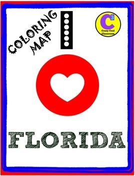 I LOVE FLORIDA - COLORING MAP