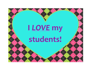 I LOVE My Students! Valentines Day Poster/Sign FREE! Hot Pink Argyle