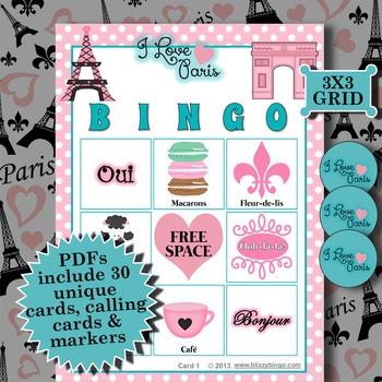 I LOVE PARIS 3x3 BINGO