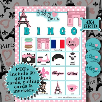 I LOVE PARIS 4x4 BINGO