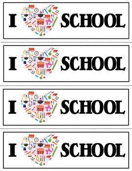 I LOVE School Bookmarks