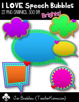 I LOVE Speech Bubbles Clip Art ~ CU OK