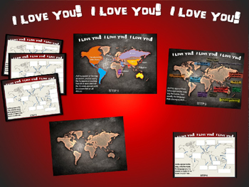 I LOVE YOU! in 12 languages: Fun, Interactive 40-slide PPT with map handout