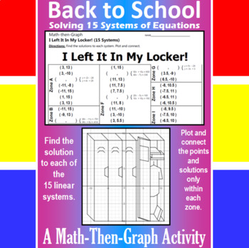 I Left It In My Locker! - 15 Linear Systems & Coordinate Graphing Activity