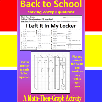 i left it in my locker - a math-then-graph activity - solve 2-step