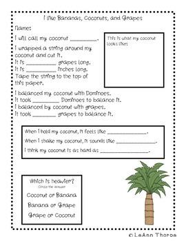 I Like Bananas, Coconuts, and Grapes:  Science, Literacy, and Math Fun