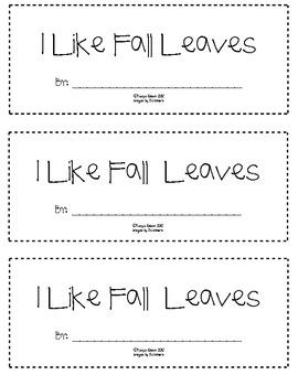 I Like Fall Leaves mini book