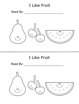 I Like Fruit Printable Emergent Reader Book for Young Readers