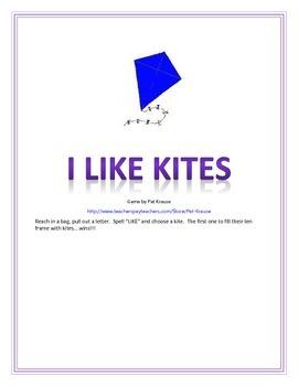 Sight word: like   I LIKE KITES