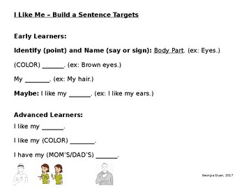 I Like Me Lesson with Colors and Body Parts (English/ASL)