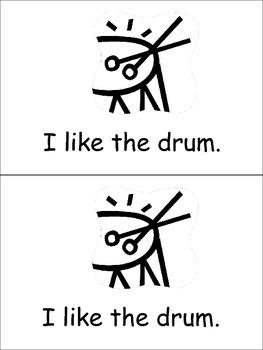I Like Music Emergent Reader for Kindergarten Preschool or Kindergarten