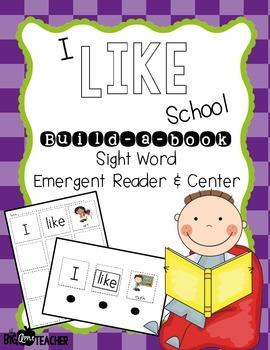 """I Like School"" Build-a-Book Sight Word Reader & Center"