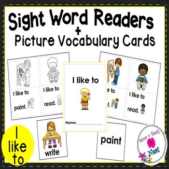 Sight Word Emergent Reader- Book & Vocabulary Cards: I Like To (I, like, to)