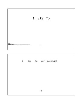 I Like To - Booklet + Worksheet