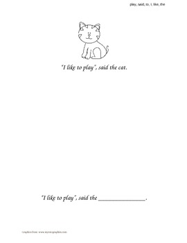 """I, Like, To, Play, Said, The"" Sight Word Book"