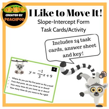 I Like to Move It! Slope-Intercept Form  Task Cards/Activity